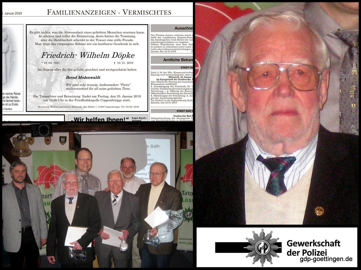 Wir erinnern uns an an unserern GdP-Kollegen Friedrich-Wilhelm Döpke