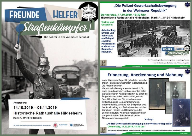 Polizeiausstellung und Vorträge in Hildesheim ( Polizei der Weimarer Republik). Veranstaltungshinweise: