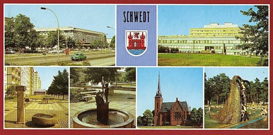 "Centrum, District Hospital, ""Historical fountain"" in Leninallee, Sculpture in Leninallee, Catholic Church, Wading Pool with Walrus Slide (Bild u. Heimat, 1988)."
