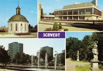 "Berlischiky Pavillion (former ""French"" Church), House of Culture, Leninallee with view of City Park, Park next to House of Culture (Bild u. Heimat, 1988)."