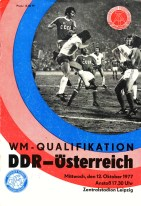 Program for GDR's World Cup qualifier against Austria in October 1977, a match they would tie 1-1 (photo: author)