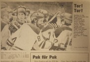 GDR team celebrates a goal on way to 4-3 win over Finnland at 1978 World Championships (photo: Sportecho)