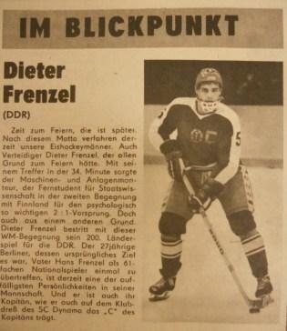 Captain Frenzel profiled in Sport Echo in advance of 1983 World Championships (photo: Sportecho)