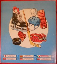 Back cover of Panini Hockey 79 album.