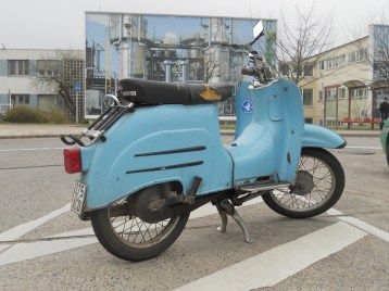 GDR-era moped, Schwalbe (Swallow) in the parking lot of PCK oil refinery, April 2014 (photo: author)