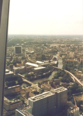 Westward view from the TV Tower as seen in 1996. The white building was the GDR's International Trade Centre and to its right is the Friedrichstrasse S-Bahn and train station (photo: author).