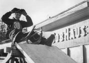 Werner Ackermann wins the East German Bobsled Championships at Oberhof in 1955 (photo: Bundesarchiv Bild 183 28603 0006).