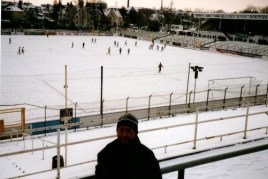 Steve, alone on the FCS fan terrace, for the afternoon friendly between Sachsen and SV Babelsberg (photo: author)