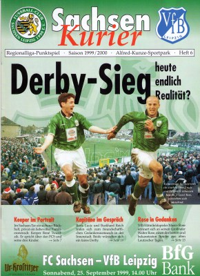 """Could a Derby Victory become reality today?"" asks the match day program (photo: author)."