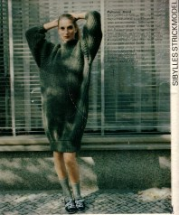 Knitted dress for DIYers presented on back page of Sibylle's Jan/Feb. issue in 1982