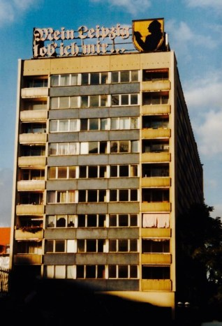 """""""Leipzig's the place for me!"""" - Goethe quote on one of the Brühl Installed in 1967 (photo: M. Bomke)."""