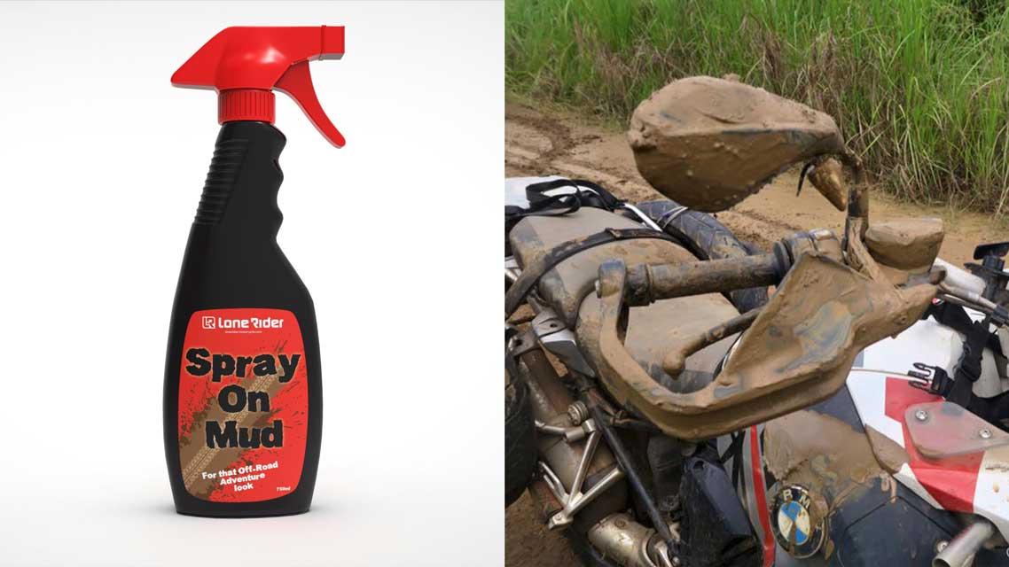 Spray on Mud bottle and Motorbike