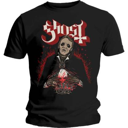 Ghost T-Shirt Dance Macabre Red Flames