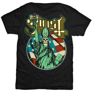 Ghost Statue of Liberty T-Shirt - This black t-shirt depicts the Statue of Liberty in green with a skull face. Behind it is the American flag and above is a cream and brown Ghost logo.
