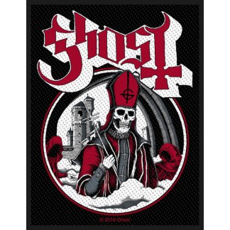Ghost Secular Haze Woven Patch. The cover art by Alan Forbes from the Secular Haze single is showcased on this official black, sew-on, woven polyester patch with standard backing and overlocked edge. A skeletal Papa Emeritus with skull instead of face paint, stands amongst mist clad in maroon vestments holds a crosier while flanked by the original faceless Nameless Ghouls. Behind them looms an ominous tower.