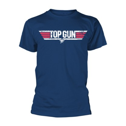 Top Gun Logo T-Shirt - a navy t-shirt with the words TOP GUN in all capitals. A white star is beneath the words, a white bar is is also below the words, while another white bar extends from the T and N in the logo. Three small red bars appear each side of the words, creating the appearance almost of American flag.
