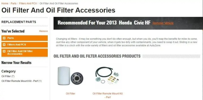 oil filter and accesories