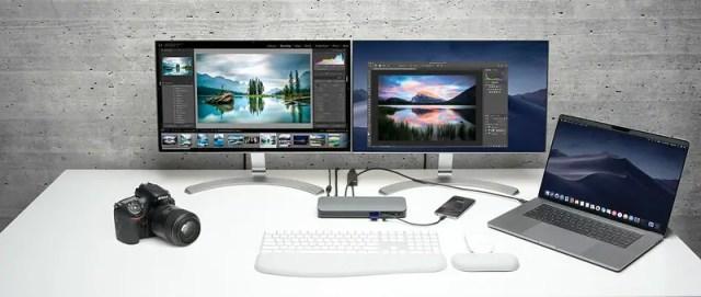 desk computer set up Kensington docking station