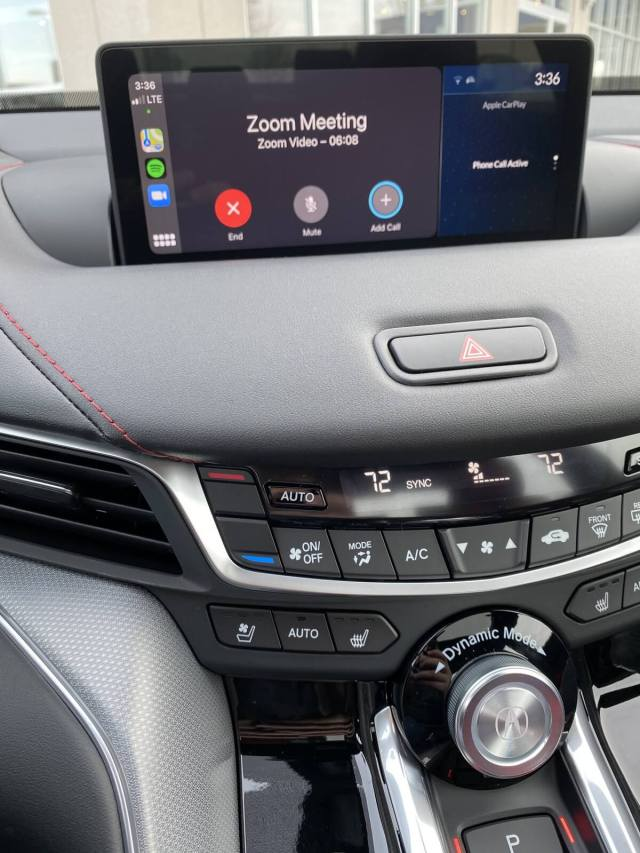 A Zoom meeting being held in the 2021 Acura TLX.
