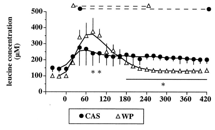 Blood Concentrations of Amino Acids (leucine) Following Whey & Casein Consumption