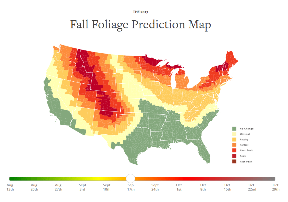 An Interactive Map That Predicts the Best Time to See Fall Foliage in 2017 Across the United States 2