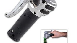 Motorcycle Grip Opener Pops Bottle Tops with Authentic Revving Sound