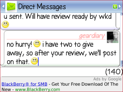 GearDiary IM+ Lite for BlackBerry Review