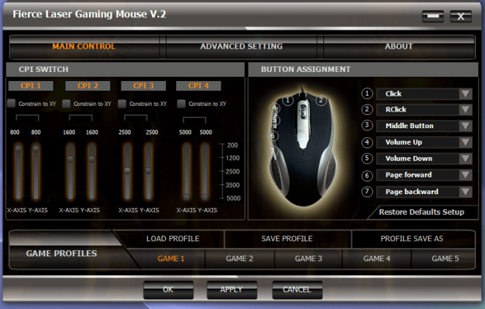 Gaming Mouse Control Panel