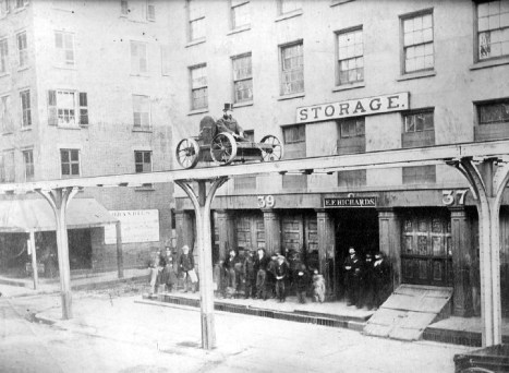 Charles Harvey demonstrating his elevated railroad design on Greenwich Street in 1867