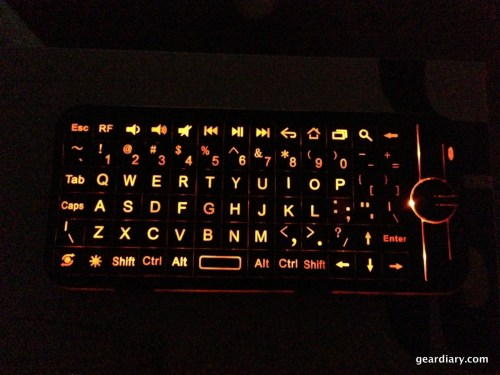 The keyboard on the gyroscopic remote.