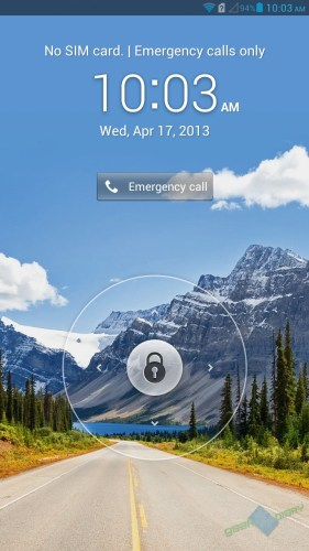 Huawei Ascend Mate lock screen.