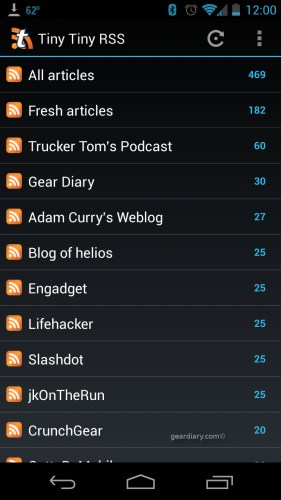 GearDiary Tiny Tiny RSS: DIY Android Google Reader Replacement