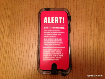 Large warning sign when after opening the packaging.