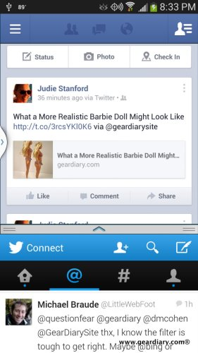 See how I have Facebook open in the top, and Twitter is open in the bottom?