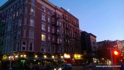 Notice how sharp the building is, the moon is easy to discern, and the street scene doesn't look too blurry
