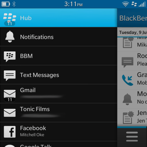 Individual services in the BlackBerry Hub