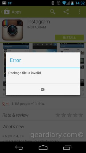 Instagram for Android 4.1 Update Says Package File Invalid