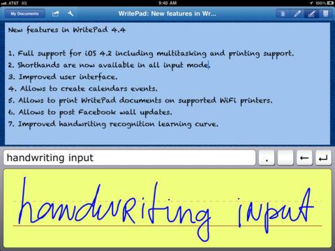WritePad iPad Screenshot