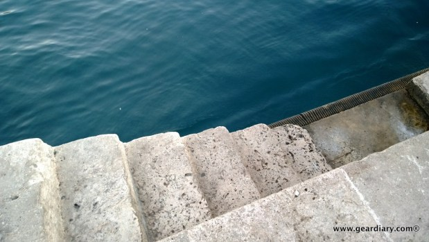 Steps from the stone dock going into the bay
