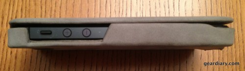 A side view of the case with phone inside.