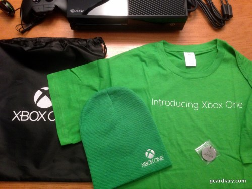 The swag bag, including Xbox One drawstring bag, Xbox One tshirt, Xbox One beanie, and Xbox One/Forza 5 Keychain.