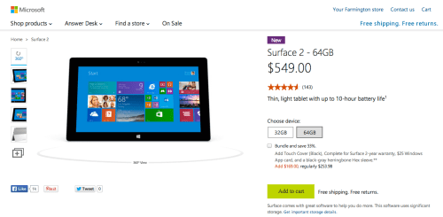 GearDiary Microsoft Surface 2 Back in Stock Online at Microsoft Store