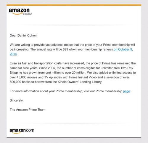 Amazon Prime Goes to $99