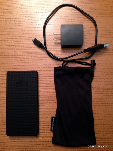 Everything included with the Reservoir:  The Reservoir, AC adapter, MicroUSB cable, and carrying pouch.