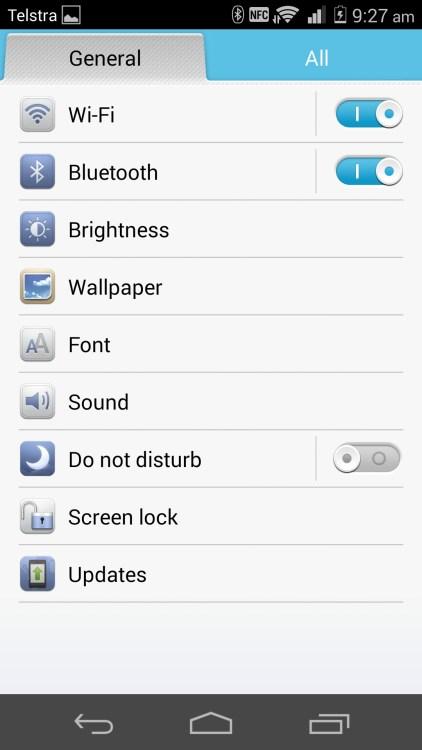 Simplified settings panel.