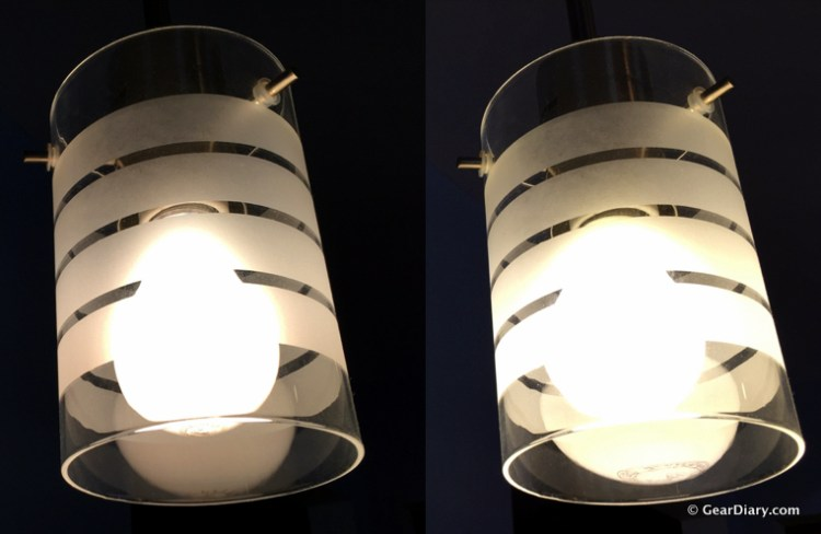 Comparison between 60W incandescent (left) and 6W LED (right).