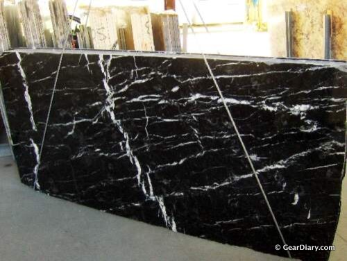 Photo of raw marble slab before production of cases.
