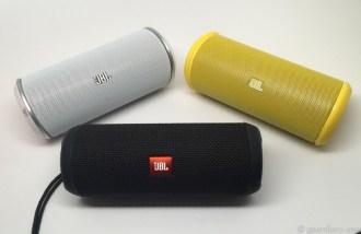 JBL Flip in White, Flip 2 in Yellow, Flip 3 in Black
