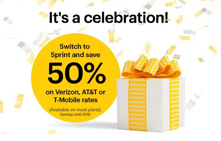 Sprint Celebrates With 50% Off Through 1/8/2018!