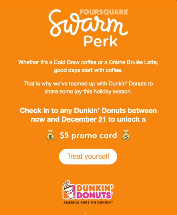 Check into Dunkin' Donuts with the Swarm App and Get a $5 Promo Card